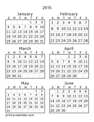 2015 Two Page Yearly Calendar | Six months per page
