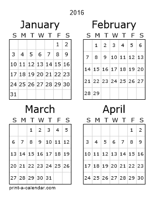 2016 Three Page Yearly Calendar | Four months per page