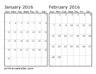 Two Horizontal Months 2016