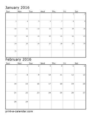Two Vertical Months 2016