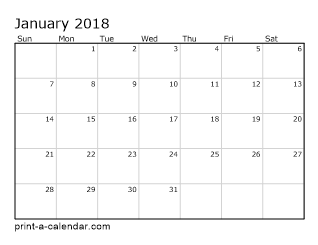calendar 2018 monthly printable