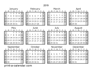 2019 yearly calendar style 1