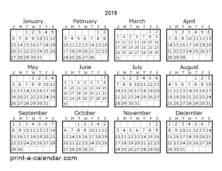 2019 yearly calendar one page calendar