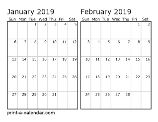 Download 2019 printable calendars for 2 month calendar template 2014