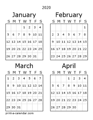 4 Month Calendar 2020 Download 2020 Printable Calendars