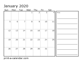 2020 Monthly Calendar with Notes