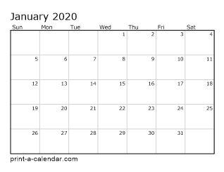 2020 Monthly Printable Calendar 2020 Printable Monthly Calendar