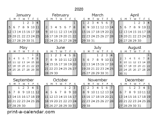 1 Page Calendar 2020 2020 one page yearly calendar with shaded weekends