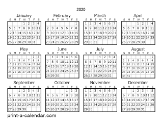 Year Calendar 2020 Printable Download 2020 Printable Calendars