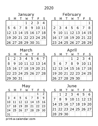 Printable 12 Month Calendar 2020 Download 2020 Printable Calendars