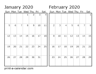 Two Horizontal Months 2020
