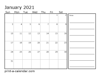 2021 Monthly Calendar With Notes