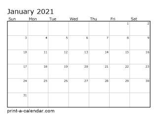 2021 Printable Monthly Calendar