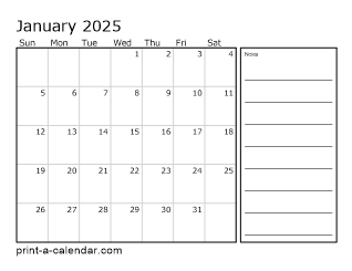2025 Monthly Calendar with Notes