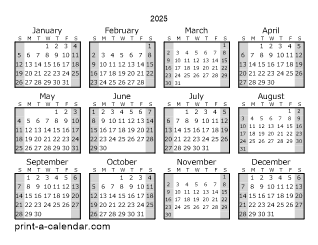 2025 Yearly Calendar (Style 1)