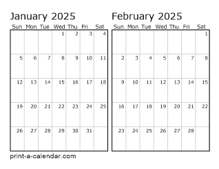 Two Horizontal Months 2025