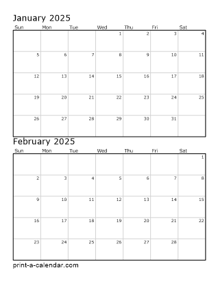 Two Vertical Months 2025