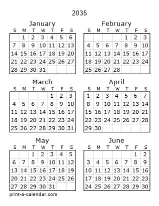 Download 2035 Printable Calendars