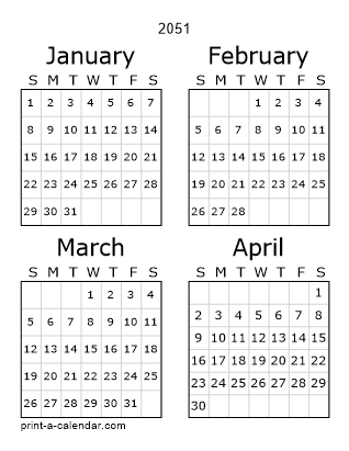 2051 Three Page Yearly Calendar | Four months per page
