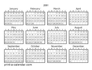 2051 Yearly Calendar | One page Calendar