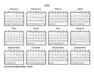 2054 Yearly Calendar | One page Calendar