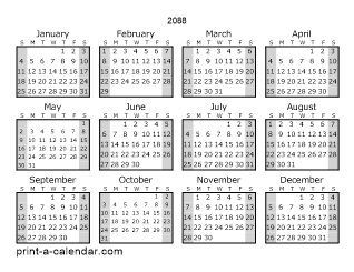 2088 Yearly Calendar (Style 1)