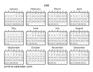 2088 Yearly Calendar   One page Calendar