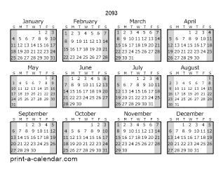 Download 2093 Printable Calendars