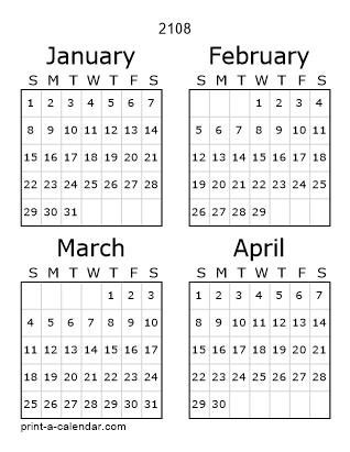 Download 2108 Printable Calendars