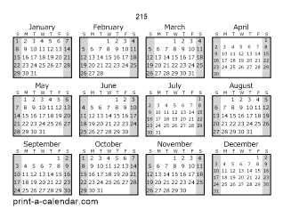 215 One Page Yearly Calendar With