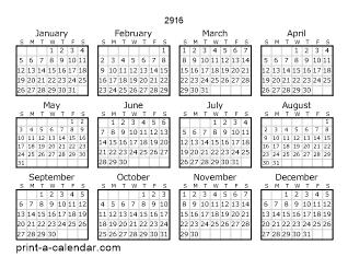 Download 2916 Printable Calendars