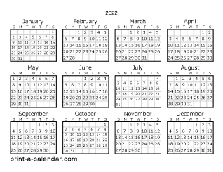 free printable yearly calendar